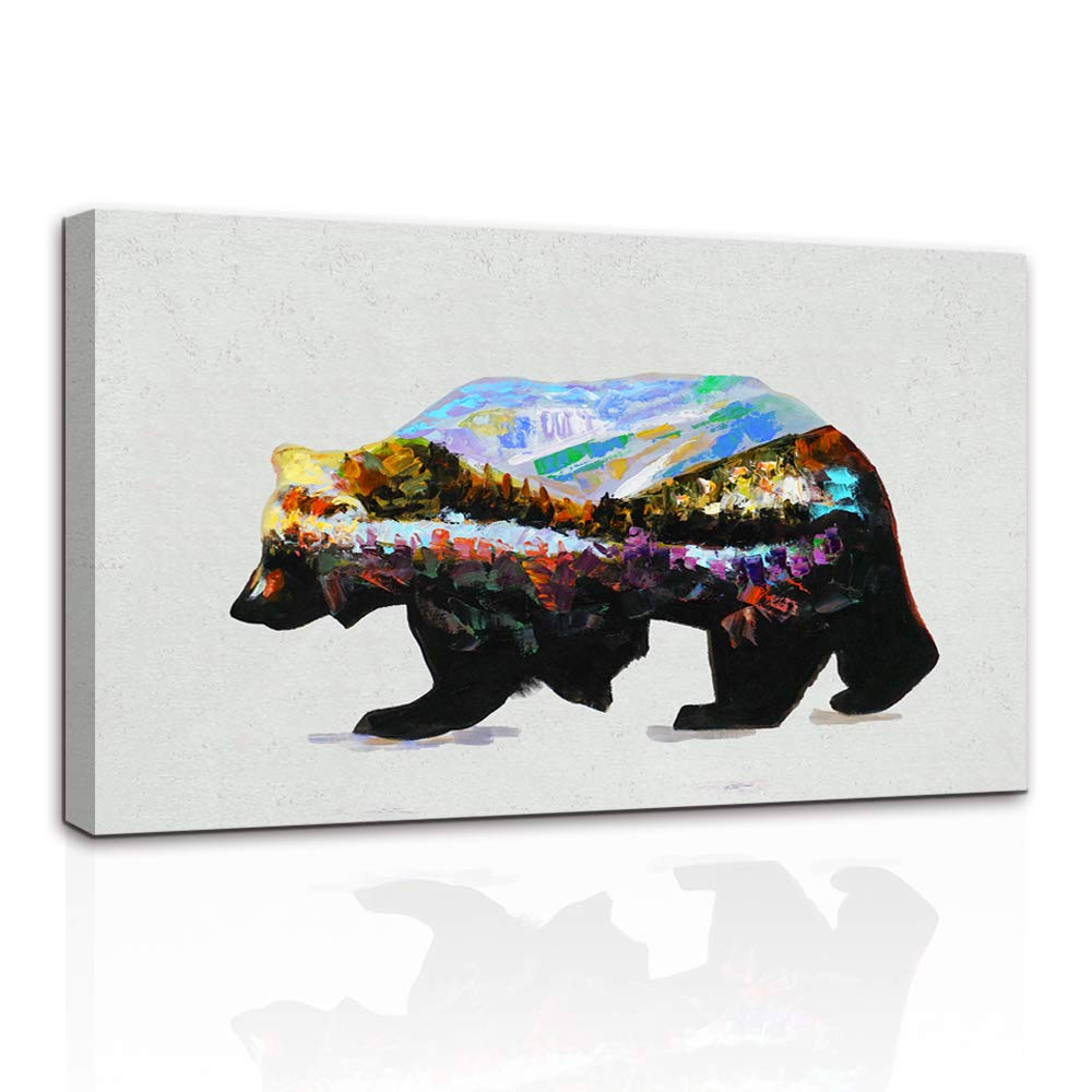 AMEMNY Canvas Paintings Home Decor Rustic Animal Snow Bear Mount