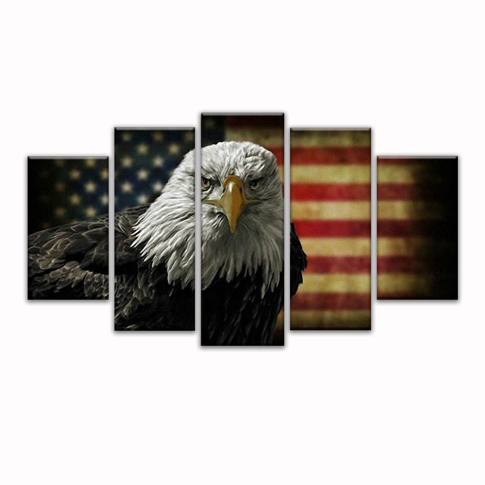 Retro American flag eagle canvas print art black and white home