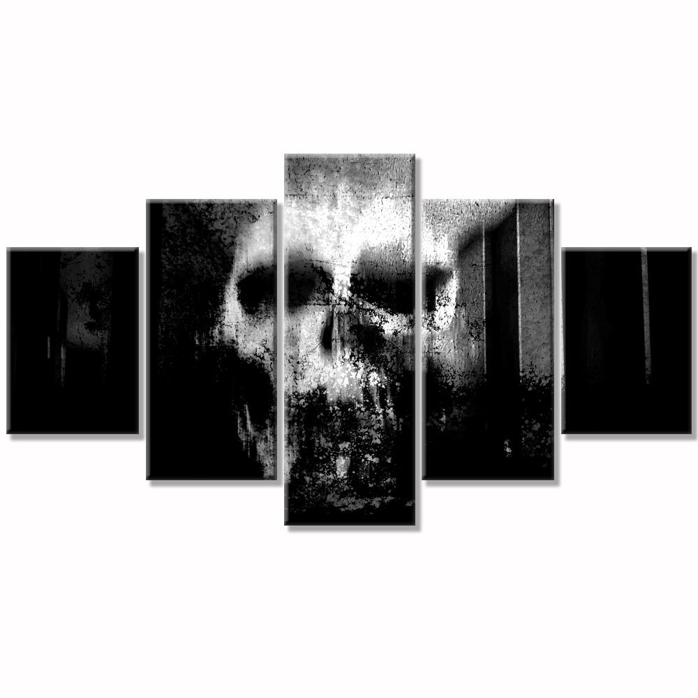 Skull canvas wall art abstract Black and White print art home de